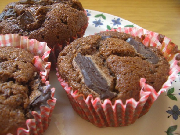 Chocolate zucchini courgette muffin
