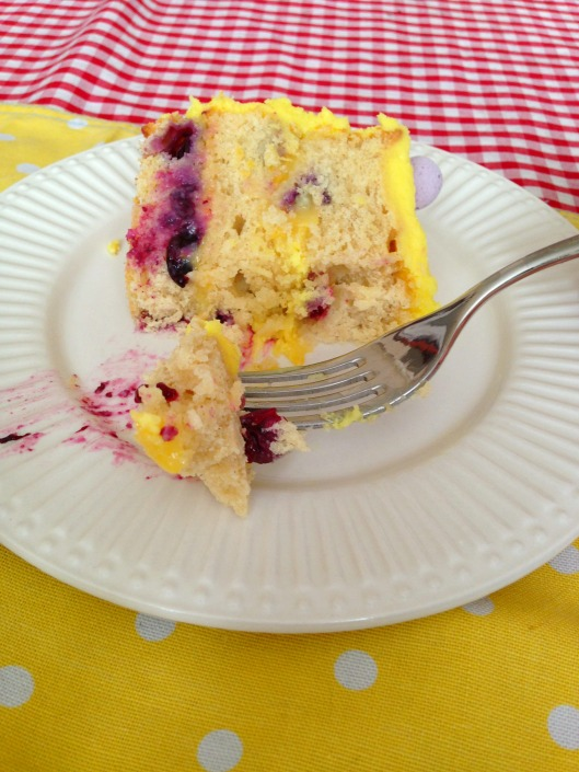 Lemon Blueberry Sunshine Cake with Homemade Lemon Curd (and Lemon frosting)